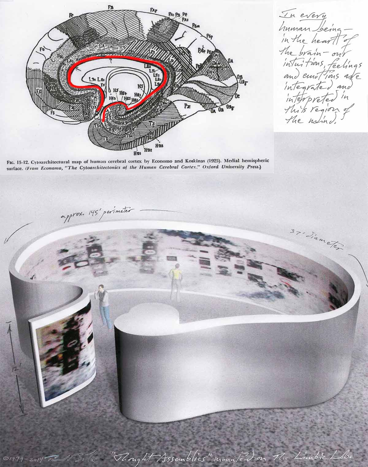 Thought Assemblies mounted on The Limbic Brain (installation drawing 1979-2014)